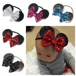 Wholesale Gold Headbands - baby gold sequin bow headband toddler nylon headbands glitter hair bows baby girl cartoon ears birthday party supplies hair accessories cute