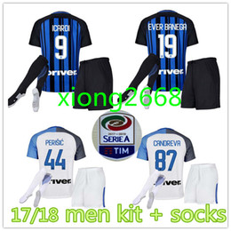 Wholesale Milan Shorts - 2017 18 inter home kits Soccer jersey CANDREVA ICARDI EDER KONDOGBIA PERISIC 2018 Milan full Set Socks 17 18 Maillot de foot football shirts