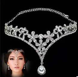 Wholesale Wedding Hair Flower Pieces - Korean Style Women Austria Crystal Flower V Shape Water Drop Crown Tiara Hairwear Wedding Bridal Jewelry Accessory Head Piece Free Shipping
