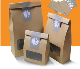 Wholesale Packaging Supplies Food - kraft gift bags wholesale gift paper bag with window for food package brown paper packaging bag paper kraft bag with window