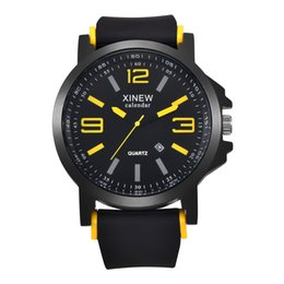 Wholesale Complete Black Suit - 5cm Mens Big Brand Watches With Silicone Band Round Shape Date Function Suit ForSports Quartz Wristwatch
