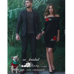 Wholesale Sexy Short Birthday Dresses - Red Flowers Short Mini Velvet Prom Dresses With Sexy Off The Shoulder 2017 Half Sleeves Vestido longo Little Black Birthday Cocktail Gowns