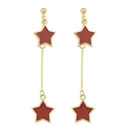 Wholesale Drop Coral Earring - New Design Earrings Jewelry Gold-Color Long Chain with Red Enamel Star Party Drop Earrings for Women Fashion Jewelry