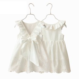 dress design for kids princess Promo Codes - 2017 new girls dresses pure white big bow V design for collar princess lace stylel ike a butterfly kids dresses