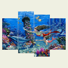 Wholesale Framed Floral Pictures - (No frame)The mermaid series HD Canvas print 4 pcs Wall Art Oil Painting Textured Abstract Pictures Decor Living Room Decoration