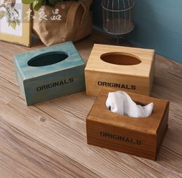 Wholesale Crafts Tissue Boxes - Wholesale- Zakka grocery tissue box customized restaurant carton tissue box wooden crafts Home Furnishing display box