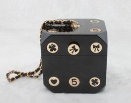 Wholesale Handbag Models - Free shipping 2017 star models with cross pattern Acrylic handbags shoulder bag mini Trunk chains Dice style bag