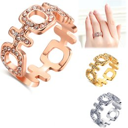 Wholesale Choice Color Rose - Eco-friendly Jewelry Rhinestone Crystal Ring Geometric Ring 18K Rose Gold  White Gold  Yellow Gold Plated Three Color Choice Women Fashion