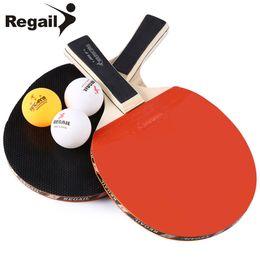 Wholesale Table Tennis Racket Long Pimples - REGAIL A508 Durable Design Table Tennis Racket With Three Balls Ping Pong Racket Table Tennis Racket Two Long Handle BZ