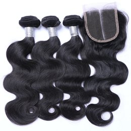 Wholesale Hair Sold Bundles - Wholesale Hot Sell Brazilian Hair Weft Body Wave With Closure Human Virgin Hair Bundles Weave Wavy Hair Extensions With 4*4 Closure