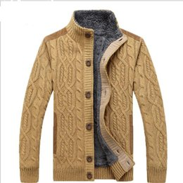 Wholesale Thick Wool Cardigan Sweater - 2017 warm thick velvet cardigan sweater men's winter jacket Men stand collar loose sweater 160