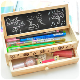 Wholesale Diy Wooden Pencil Case - Wholesale-Free shipping Korea stationery lovely pencil box multifunctional wooden diy drawer stationery box multifunctional pencil case