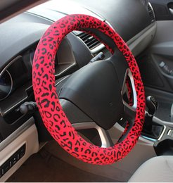 Wholesale Leopard Print Steering Wheel Covers - Car Styling Autumn Winter Leopard Printing Fur Vehicle Steering Wheel Car Covers 38cm fashion new Girls Women steering-wheel car-covers