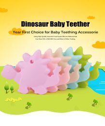 5 UNIDS BPA Libre Seguro y Natual Dinosaurio Mordedor de Silicona Bebé Chupete Dentición Masticable Colgante Collar de Enfermería Joyería desde fabricantes