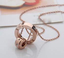 Wholesale Couple Pendants Gold - famous brand jewerly 316L titanium Steel 18K rose gold plated necklace short chain silver necklace pendant for women couple gift