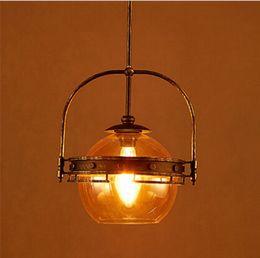 Wholesale Amber Knobs - Loft Style Vintage Amber Edison Glass Pendant Lights,Retro Iron Art Pendant Lamps for Cafe bar Hanging Lamps Industrial Lighting LLFA