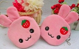 Wholesale Strawberry Coin - Wholesale- Sweet 12CM Strawberry Rabbit - Girl's Plush Coin BAG Pouch Purse & Wallet Case ; Keychain Pendant Storage BAG Pouch Handbag Case