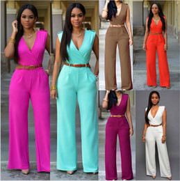 Wholesale Slimming Leg Belt - Sexy women v neck rompers jumpsuits with belt Hot slim full length romper solid Ultra wide leg trousers jumpsuit for women