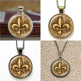 Wholesale fleur lis pendants wholesale - 10pcs Fleur De Lis Bronze Lily Flower Pendant picture Pendant Necklace keyring bookmark cufflink earring bracelet