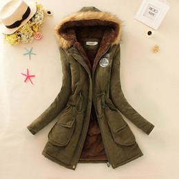 Wholesale Womens Green Military Coat - S-3XL 2015 new Winter Womens Parka Casual Outwear Military Hooded Coat Winter Jacket Women Fur Coats Woman Clothes manteau femme