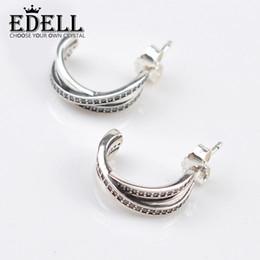 Wholesale Ear Cuffs Cz - EDELL 925 Sterling Silver Pandora Semicircle Rhinestone Earrings Luxury Jewelry Moon Bay Love CZ Diamond Brand Ear Cuff