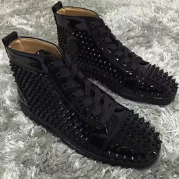 Wholesale Buckle Brand Shoes - Original Red Bottom Luxury Designers Spikes Sneakers Shoes Men High Top Louisflats Outdoor Casual Shoes -- Brand Comfortable Casual Shoes
