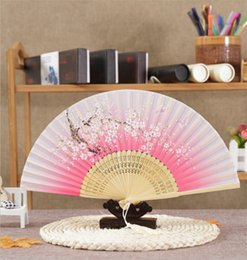 Wholesale Fans Asian - Free Shipping 50pc lot Silk Dance Hand Fan and Wedding Party Decor gifts butterfly Flower Asian Pocket Fan