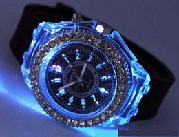 Wholesale Geneva Led - LED Light Glow Geneva Watches diamond crystal stone Led Light watch unisex silicone jelly candy flash up Watches Sphes Sports Watches by DHL