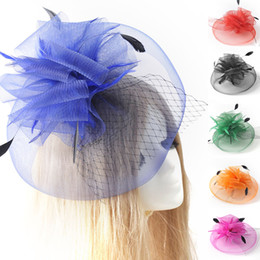 Wholesale Red Hair Nets - Lady Bridal Wedding Hair Clip Headwear Handmade Netting Feather Fascinator Hat 9 colors for choose Gift