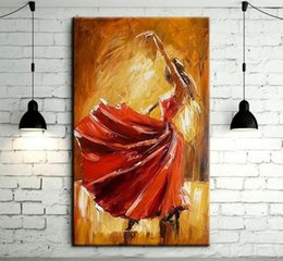 Wholesale contemporary paintings canvas - Spain Dancer Dancing,Hand Painted contemporary Spanish Flamenco Dancer Wall Decor Art Oil Painting On Canvas.Multi sizes  Frame Options Ab12