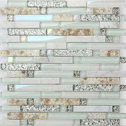Wholesale Mosaic Mix - Light green glass mix stone&shell mosaic tiles,Hot sale rainbow color waterproof Kitchen  Bathroom wall decor shell mosaic tiles,LSBK55
