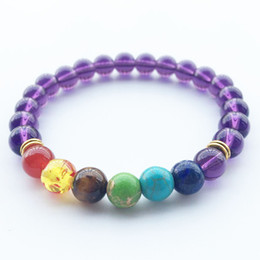 Wholesale Colorful Stone Bracelets - 2017 Wholesale Handmade Colorful Red Agate Amethyst Volcano Natural Violet Black stone matte yoga Buddha Bead Bracelet for Women Jewelry