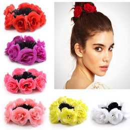 Wholesale Charm Ponytail - female artificial flowers headbands headwear bang holder ponytail hair wear accessory gift multicolor charming small flowers elastic