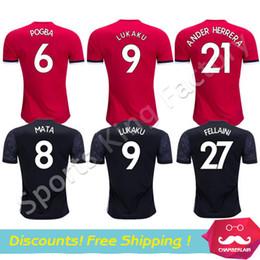Wholesale Wholesale Thai Quality Soccer Uniforms - Wholesale Soccer Jersey 2018 LUKAKU Pogba Soccer Jersey camiseta de futbol MARTIAL MATA Red Devil Football uniform Top Thai Quality