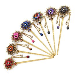 Wholesale Palace Crystals - Good A++ Retro bride hairpin fashion fringed step swing plate hair ornaments palace women headdress FZ050 mix order 20 pieces a lot