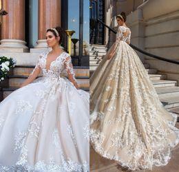 Wholesale vintage v neck ball gown - Gorgeous Lace Ball Gown Wedding Dresses 2017 Sexy V Neck Appliques Sheer Long Sleeve Bride Gowns Vintage Vestido De Noiva