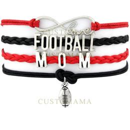 Custom bracelet online-Custom-Infinity Love Football Mom Charm Multilayer Wrap Team Pulseras Sports Red Black Pink Leather Pulseras Mujer Moda Pulseras
