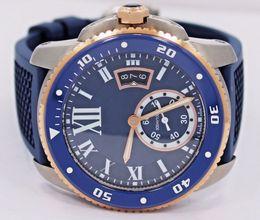 Banda de reloj 18k online-Top Quality Diver W2CA0009 esfera azul y caucho Band 42mm automáticos hombres deporte relojes de pulsera 18k Rose Gold Mens Watch