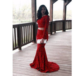 pick shirt Promo Codes - Two Piece Mermaid Red Prom Gowns Newest Long Sleeve Lace Evening Dress Jewel Neck Beaded Custom Size Vintage Party Gowns Robe de Soiree