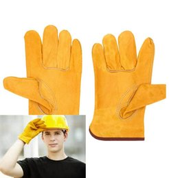 Wholesale Wholesalers Leather Work Gloves - Working Protection Gloves Safety Welding Leather Glovess Yellow Color Size L Protect worker hands Construction site out52