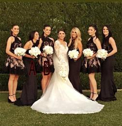 Wholesale Bridesmaid Dresses Different Necklines - 2018 New Different Styles Elegant Bridesmaid Dresses Halter Neckline Black Lace Appliques Short  Long Maid of Honor Gowns Cheap BA6809