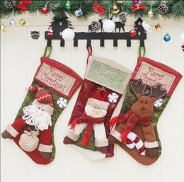 Wholesale Football Candy - Big Size 46X23CM Christmas Decoration Santa Claus Socks for Kids Gift bag Stockings Ornament for Children Candy Bag Party Decoration
