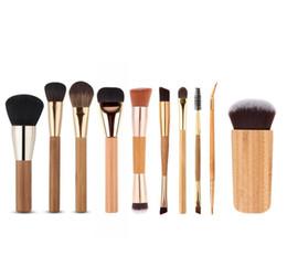 Wholesale Kit Brushes Set Aluminum - 10PCS set Pro Makeup Brush Kits Bamboo Aluminum Handle Top Quality Lips Eye Blush Contour Brushing Brush Cosmetic Makeup Tools free DHL