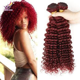 New Style Burgundy Hair deep Curly Weave 99j brazilian Malaysian Peruvian mongolian Curly Virgin Hair 4pcs lot Top Grade Wine Red 99j Hair Coupons