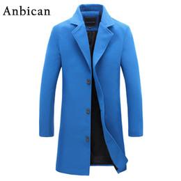 Wholesale Single Button Pea Coat - Wholesale- Anbican 2017 Spring New Long Wool Blends Coat Men Brand Design Blue Trench Overcoat Male Pea Coat Plus Size M-5XL