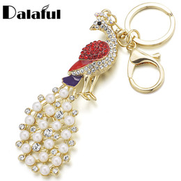 Wholesale Black Peacock Pearls - beijia Chic Peacock Faux Pearl Crystal HandBag Pendant Keyring Keychain For Car Keyfob key chains holder for women K159