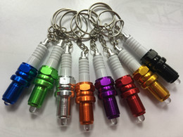 Wholesale Clear Plastic Photo Keychains Wholesale - LED key chain spark plug turbo keychains adapted key chain brake disc chain NOS nitrogen key ring