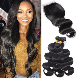 Wholesale Top Quality Peruvian Hair - Best Quality Malaysian Virgin Hair Weave 4 Bundles Remy Human Hair With Top Swiss Lace Closure Unprocessed Indian Peruvian Brazilian Hair