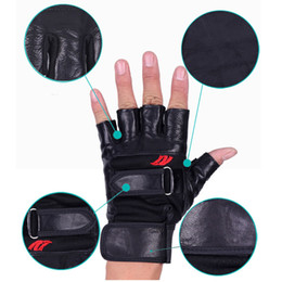 Wholesale Wholesale Leather Working Gloves - Wholesale- 1 Pair New Arrival Work Out Gloves Women Men Weight Lifting Gym Sport Exercise Training Half Finger