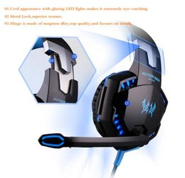 Wholesale Bluetooth Casque - Computer Stereo Gaming Headphones Kotion EACH G2000 Best casque Deep Bass Game Earphone Headset with Mic LED Light for PC Gamer